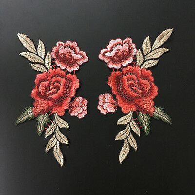 2pcs Rose Flower Applique Badge Embroidered Floral Collar Sew Patch Bust Dress