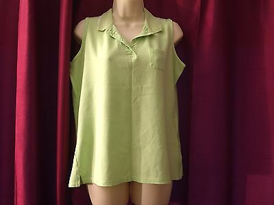 Ladies lime green sleeveless polo top golf size 14-16 Originals