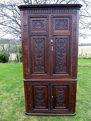 Large  Country Oak Heavily Carved Corner Cupboard  1740   Free Shipping