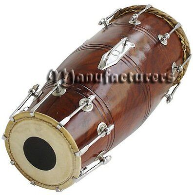 Dorpmarket Solid Wood HM-0119 Hand Made Sheesham Wood Naal Drum Dark Brown Color