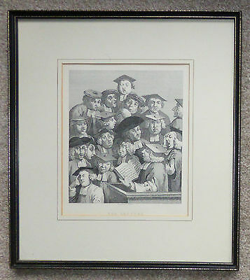 "Oxford University ""The Lecture"" framed engraving by William Hogarth"