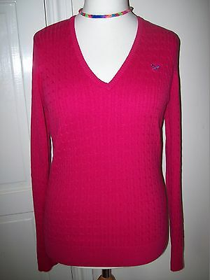 Crew Clothing Co. fuschia pink 100% cotton cabled jumper  V neck M L XL