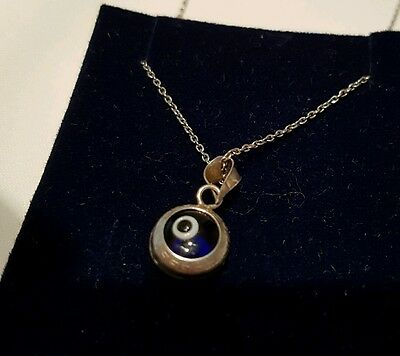Solid Silver Lovely Duble Sided Eye Pendant X Solid Silver 925 Chain.