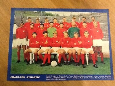 A4 TEAM Football Poster/picture CHARLTON ATHLETIC, Late 60s70s -buy 3 get 1 Free