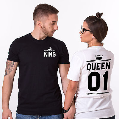 Matching Couples Shirts Her King His Queen Love Double Print Tees Valentine' Day