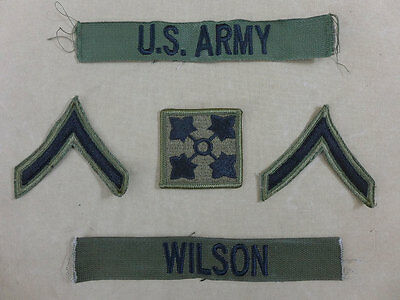 Set US ARMY Vietnam Patch / Patches Private 1st class + Namens Streifen oliv