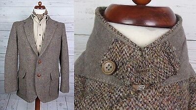 Vtg  Brown 2 Button Harris Tweed Sports Coat /  Jacket Elbow Patches -40_ DN23