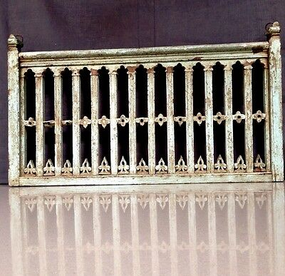 Antique, Vintage Colonial Indian Raj. Carved Wooden Screen. Jali. Baby Blue