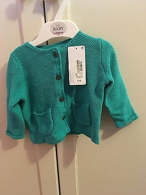 Baby Girls Cardigan 3-6 Months BNWT turquoise M&s