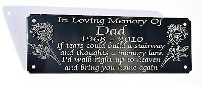 """Personalised Memorial Bench Plaque Grave Marker Sign With Any Wording 6"""" X 2"""""""