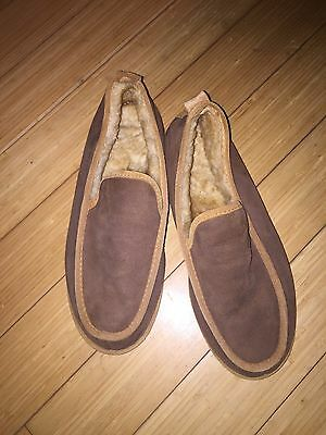 EUC Mens Brown Suede LL Bean Shearling Wool Slippers Mocs Sz.13