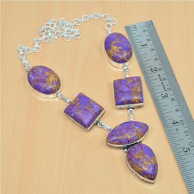 925 Sterling Silver Plated Purple Turquoise Long Nice Necklace Jewelry