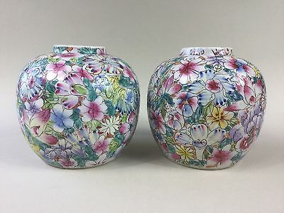 A Pair of Chinese 19th Century Millefiori / Millefleurs Ginger Jars