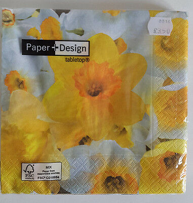 10 packs of Paper napkins. Lunch 33x33cm. 3ply Daffodil Design. Jonquil 20675