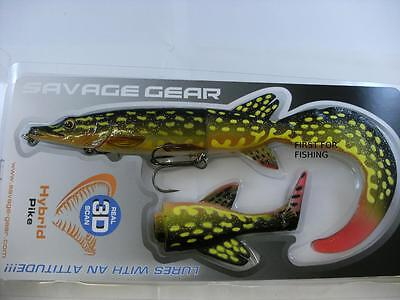 NEW SAVAGE GEAR 3D HYBRID YELLOW PIKE FISHING LURE 17CM 45g & SPARE TAIL
