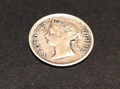 British Colonial Hong Kong Queen Victoria 1895 five cents 5c 800 silver