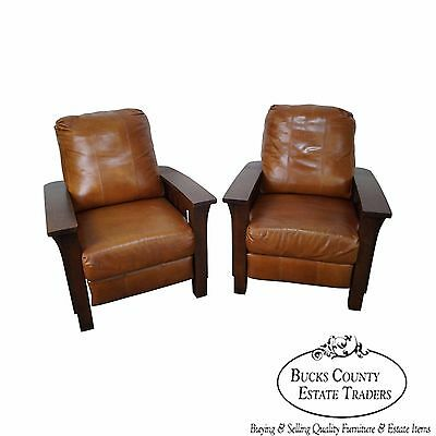 Quality Pair of Mission Oak Stickley Style Leather Recliners