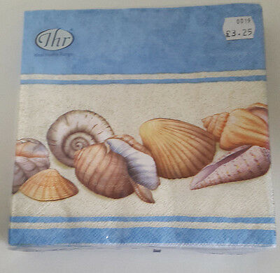 6 packs of Paper Napkins. Lunch 33x33cm. 3ply Shell Border Design. L 93749