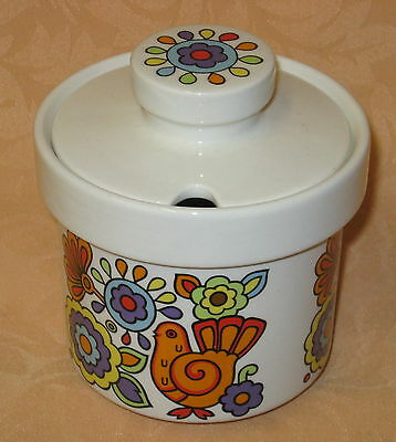 UNUSED Vintage 1960's Lord Nelson Pottery Gaytime Covered Jam / Preserve Pot