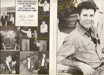 CLIFF RICHARD r menu -  17 x 24 cm  from 1991 now very rare excellent condition