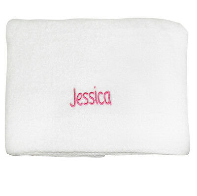 Personalised WHITE BATH TOWEL Childrens Girls Beach Holiday Hen Party Towel