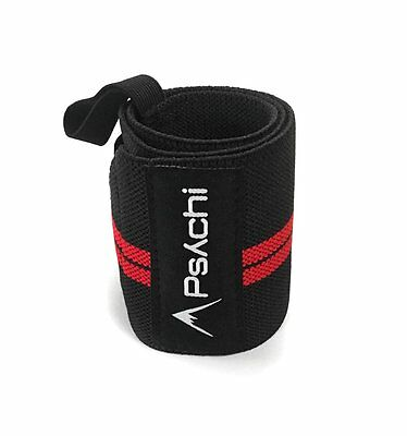 Psychi Weight Powerlifting Crossfit Wrist Support Wraps Gym Training Straps Pair