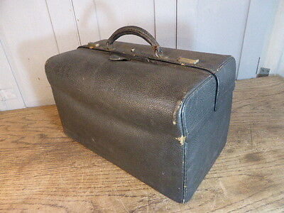 Antique doctors leather clad expanding bag or case by Fisher