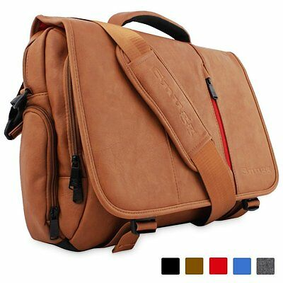 Laptop Bag, Snugg™ - Crossbody Shoulder Messenger Bag in Brown Leather - Fits