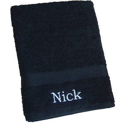 Personalised BLACK BATH TOWEL Childs Boys Beach Holiday Gym New Home Towel