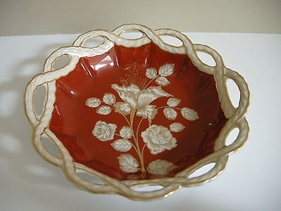 Oscar Schlegelmilch, Germany Bowl with Reticulated Open Rim, Gold Flowers