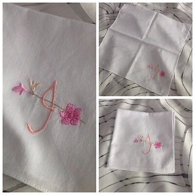 Ladies White Fine Cotton Hanky, Embroidered with Initial J
