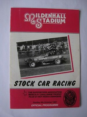 F1 Stock Car Racing @ MILDENHALL Stadium 4th October 1987 Programme