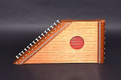 VINTAGE HAND MADE WOODEN ZITHER AUTOHARP 15 STRINGS INSTRUMENT W/Sheet Music