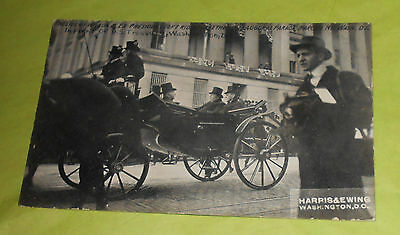 Presidents Wilson and Taft in Inaugural Parade Carriage Postcard