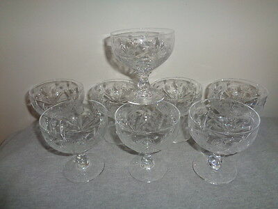 8 Vintage Edinburgh Crystal Conyemporary Glass Champagne Sherbets