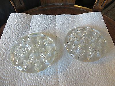 """2 Vintage clear glass flower frogs, domed tops, 3 1/2"""" bottom"""
