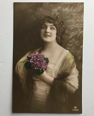 Glamour Vintage Postcard: RP Tinted, Elegant Lady With Bouquet - Good