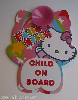 Girls Hello Kitty Child On Board Car Window Sign - Brand New!