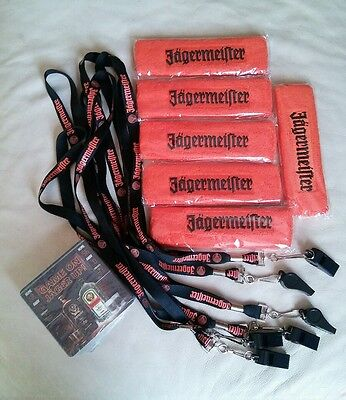Jagermeister Lanyards removable Whistles Headbands sweat Coasters lot FUN PARTY