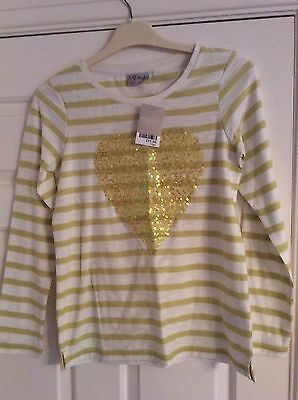 Girls Next  Sequinned Yellow White Striped Top Age 11 Yrs