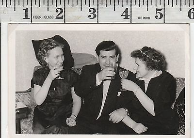 Vintage Photo Women man drinking toasting cheers #1021