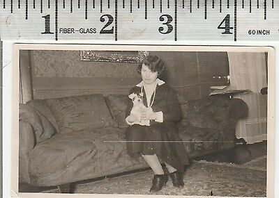 Vintage Photo woman holds her cute pet dogs with black eye #1057