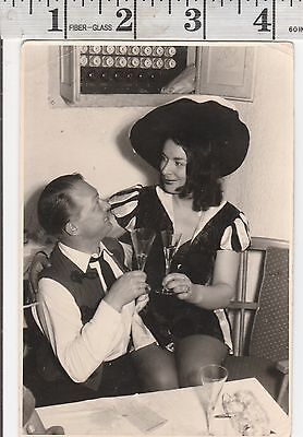 Vintage Photo Woman in costume sits on mans lap having a drink   #1047