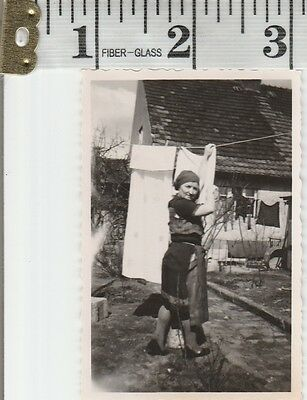 Vintage Photo Snapshot Lady Woman hanging clothes on line outside   #532