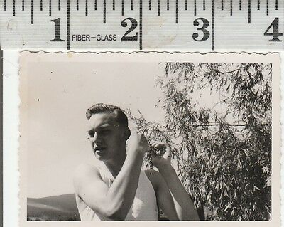 Vintage Photo Young man gets poked in head by tree   #1119