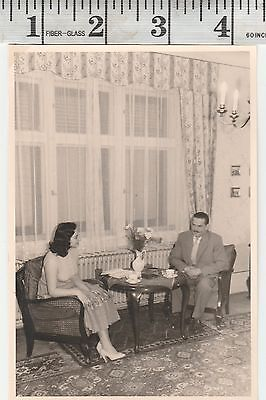Vintage Photo woman  lady and man having tea   #811