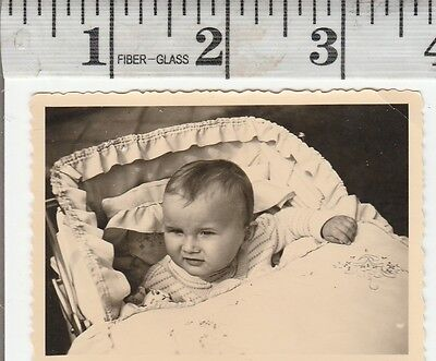 Vintage Photo Snapshot cute baby in carriage   #964