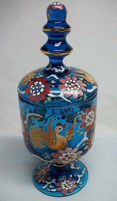 Decorative Blue Glass Footed Apothecary Jar Raised Relief w/ Birds & Flowers