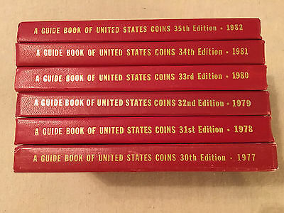 A Guide Book of United States Coins 1977 - 1982 - Six Books