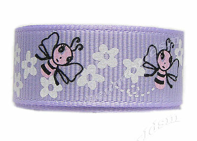 "8y 16mm 5/8"" Lt Orchid Bee Grosgrain Ribbon Gift Holiday Eco Premium FREE PP"